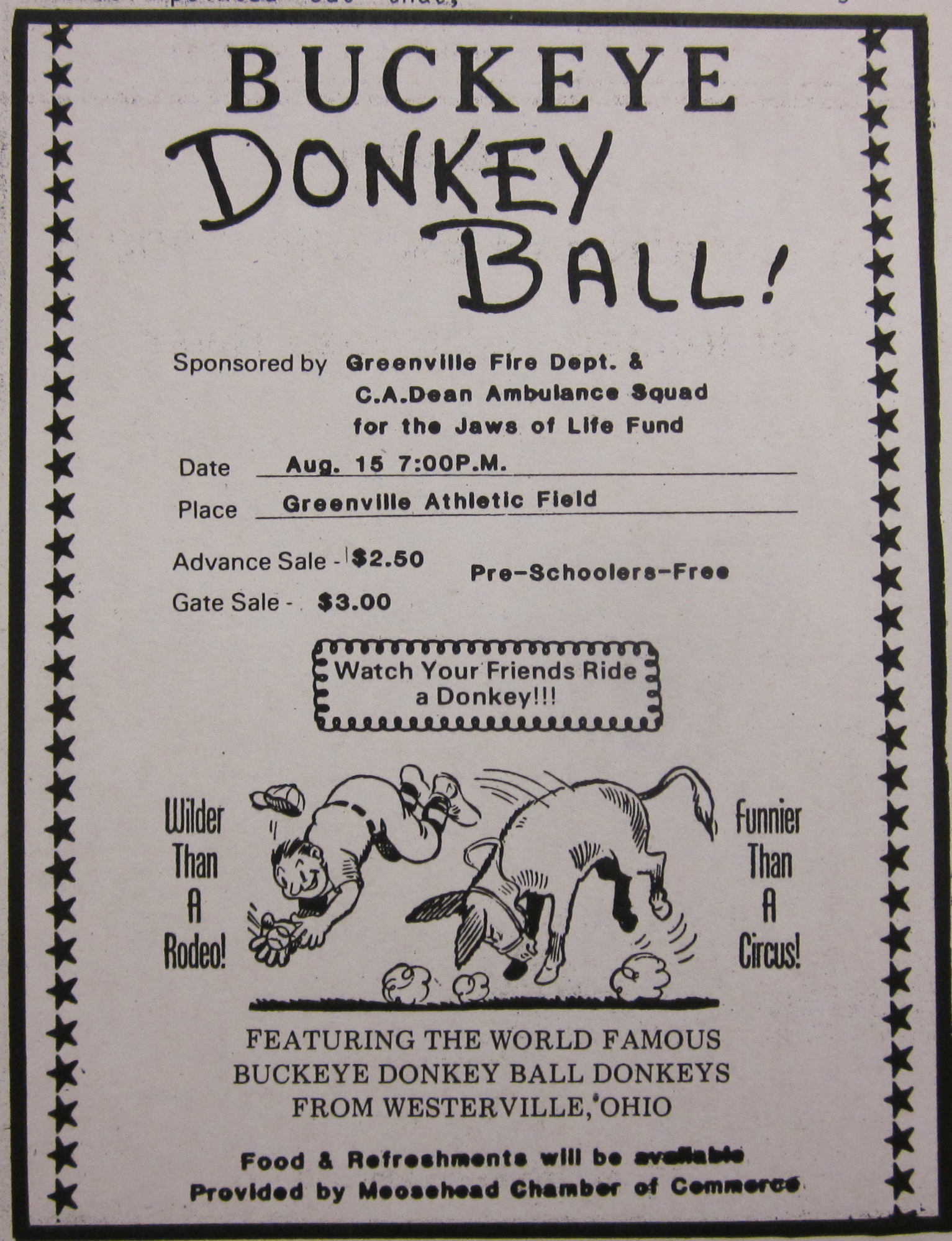 Donkey Basketball Ad from July 31, 1985 Moosehead Messenger | Indian