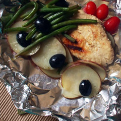 Foil packet grilling is simple and delicious. This chicken version is something we all like and is versatile as well.