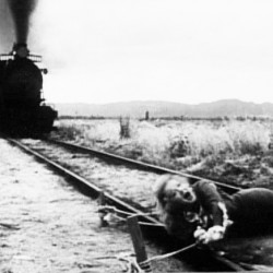 shelagh talbot | BDN Poor Pauline - tied to the tracks (from Teddy at the Throttle, an old silent film).